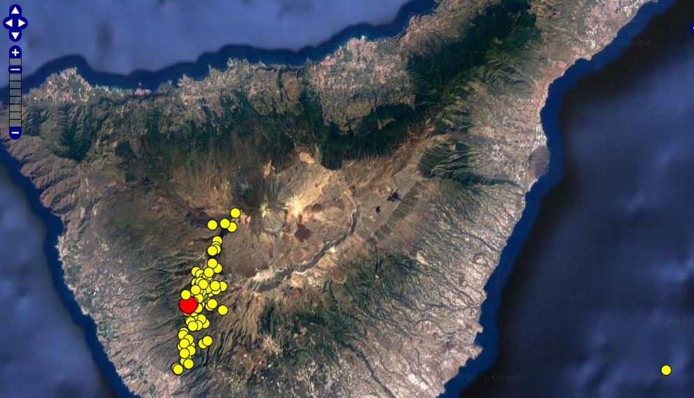 Distribución de los epicentros de los sismos localizados. Fuente: IGN